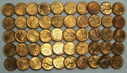 1938-p 1c Cent Lincoln Wheat Full Roll 50 Coins Penny Lot Set Uncirculated Lg278