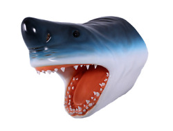 Shark Head Wall Decor Mouth Open Hanging Fish Life Size Statue