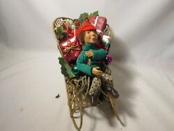 Accessory For Byers Choice Kindle On Gold Sleigh Laden With Gifts And Ornaments