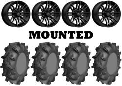 Kit 4 Ams Mud Evil Tires 32x10-14 On Msa M40 Rogue Machined Wheels Can