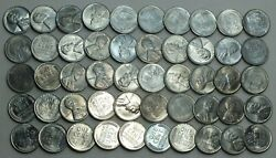 1943-s 1c Cent Lincoln Wheat Full Roll 50 Coins Steel Penny Uncirculated Lg288