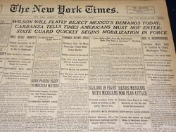 1916 June 20 New York Times - Wilson Will Reject Mexico's Demands Today- Nt 8638