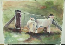 Kris Kuester The Grass Is Greeneron The Other Side Cows Watercolor Painting