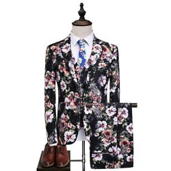 British Style Menand039s Suit Wedding Grooms Printed Floral Dress Formal Blazers 3pcs