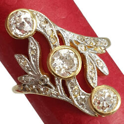 Antique Artnouveau Lady Ring With Natural Old Cut Diamonds Gold 18k Circa 1900