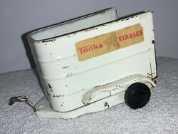 Vintage Tonka Stables Horse Trailer Double Axle Tin Toy - Used Condition