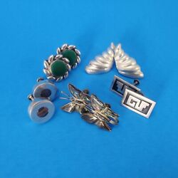 Vintage/antique Mexican Silver Earring Lot 5 Pair