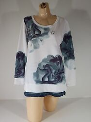 Shirt Sweat Style Pull Over Women Top Hannah White blue combo $44 $9.99