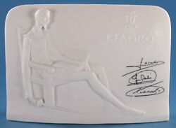 Vtg Lladro Collectors Society Display Sign White 1985 Charter Member