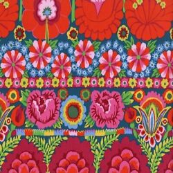 Kaffe Fassett PWKF001 Embroidered Flower Border Cotton Quilting Fabric by Yd