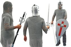 Medieval Chain Mail+viking King Helmet+holy Cross Shield And Emperor Sword