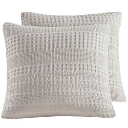 Cotton Waffle Weave Euro Sham Covers 26quot;x 26quot; 2pcs Soft for Winter PHF $22.99