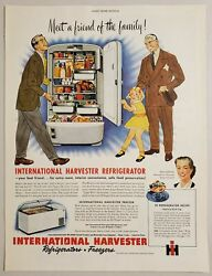1949 Print Ad International Harvester Refrigerator And Freezer For The Family