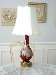 Antique Rare Unique 20 Table Lamp Hand-blown Red Glass Hand Painted Excellent
