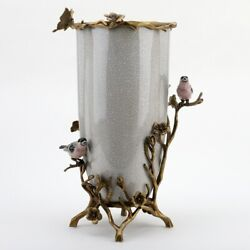 New Porcelain White Crackle Vase In Bronze Ormolu With Applied Birds