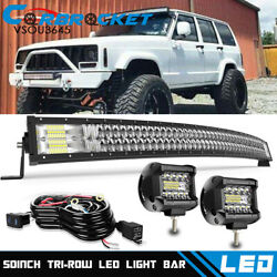 5d 50 Curved Led Light Bar+ Cube Pods Wiring Kit For 1984-2001 Jeep Cherokee Xj