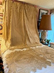 Rare Victorian Lace And Silk Full Bedspread And Side Table Covers