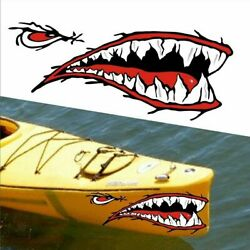 2pcs 14quot; Shark Mouth Teeth Graphic Stickers Decal For Kayak Car Side Door Fender