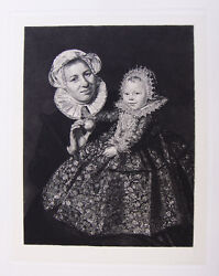 Touching 1800s Frans Hals Antique Etching The Wet Nurse With Child Framed Coa