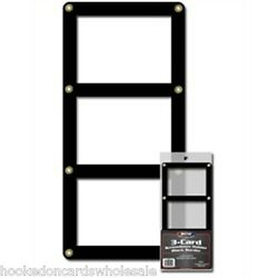 Lot of 3 BCW Brand 3 Card Black Border Screwdown Card Holder Display Case