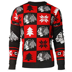Chicago Blackhawks Patches Nhl Ugly Crew Neck Sweater By Forever Collectibles