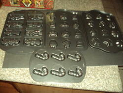 5 New Wilton Metal Candy / Cookie Molds Trays Christmas And Halloween Id57760