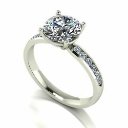 Forever One Moissanite Platinum 2.30 Carat Four Claw Solitaire Shoulder Set Ring
