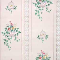 1940s Kitchen Vintage Wallpaper Pink Green Flowers Ivy And Bird Cages