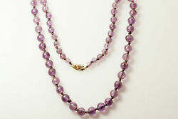 Beautiful 17 Amethyst Beaded Necklace 14k Yellow Gold Clasp 22.4g Nec4115