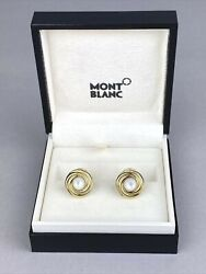 Mont Blanc Gold Cufflinks - Mother Of Pearl Inlay - Boxed - Made In Germany