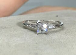 Stunning .46CT Center French Baguette Diamond 14K White Gold Ring Size 6.5 $649.99
