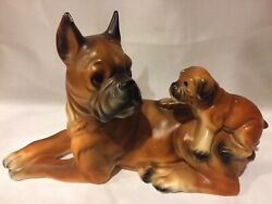 Vintage Norleans Large Boxer And Puppy Figurines Animal Dogs Figurine