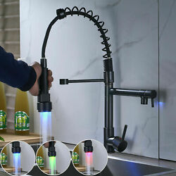 Led Kitchen Sink Faucet Oil Rubbed Bronze Single Handle Pull Down Sprayer Taps