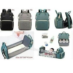 BACKPACK DIAPER BAG WITH EXPANDABLE CHANGING TABLE BLACK GREY BLUE $59.99