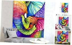 Watercolor Elephant Tapestry Psychedelic Indian Bohemian Tapestry Colorful Hippi
