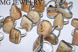 Bulk 700 Pcs Lot Natural Picture Jasper Gemstone 925 Silver Plated Rings Ia848