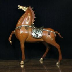 12.4 Antique Old Chinese Bronze Gilt Handcarved Horse Statue A2