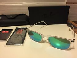 New Ray Ban Light Ray Wayfarer RB4225 646 3R Matte transparent Green Mirror $109.95