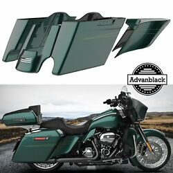 Deep Jade Pearl Extended Bags Stretched Saddlebag Pinstripes For Harley 2014+
