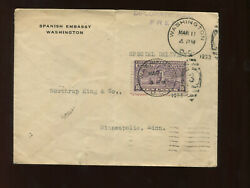 E15 Special Delivery Stamp Free Frank Spanish Embassy Diplomatic Mail Cover