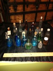 Vintage Htf Glass Medicine Bottles 24 Pieces Various Ages And Styles