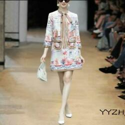 Runway Womens Bows Printed Floral 3/4 Sleeve Shirts A Line Slim Skirts 2pcs Suit