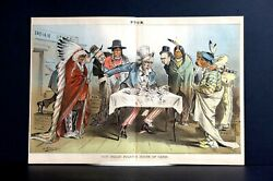 American Indian Policy 1881 Uncle Sam House Of Cards Tobacco Whiskey Rum Puck