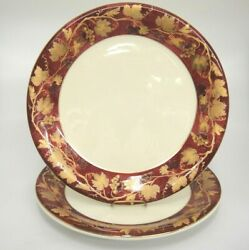 Crate And Barrel Volante 2 11.25 Dinner Plate Burgundy Gold Grape Leaves Italy