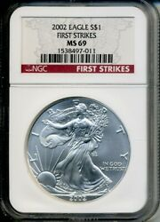 2002 First Strikes Ngc Ms69 American Silver Eagle Rare - Ngc Pop Is Only 1922