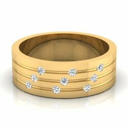 14k Yellow Gold 0.14 Ct Real Diamond Wedding Menand039s Rings Size 9 10 11 Certified