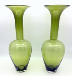 Green Art Glass Pair Of Vases 18.5 Tall Rare Matched Set Beautiful Avocado