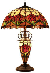 """Vintage Rose Flower Style Stained Glass Table Night Light Lamp 24"""""""