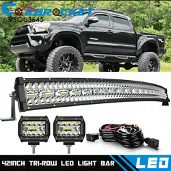 For 2005-2015 Toyota Tacoma Curved 42 Led Light Bar Roof +4cube Pods Combo Kit