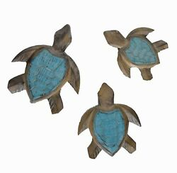 HAND CARVED WOOD SEA 3 TURTLE FAMILY WALL ART SIGN BAR POOL TROPICAL ISLAND DECO